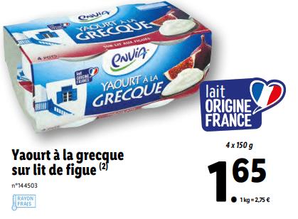 Promo sur Pack de 4 Yaourt a La Grecque sur lit de figue Envia 1