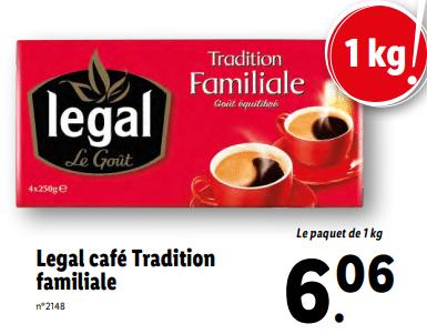 Promo sur Paquet Legal Cafe Tradition Familiale 1 kg 1