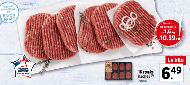 Promo sur barquette de 1 6 kg de Steaks haches 1