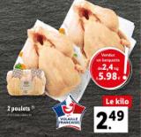 Promo sur barquette de 2.4 kg de 2 poulets Volaille française