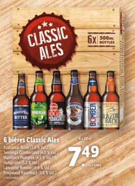 Promo sur lot de 6 Bieres Classic Ales 1