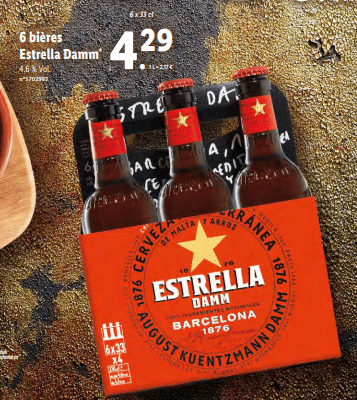 Promo sur pack de 6 Bieres Estrella Damm 1