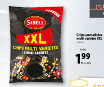Promo sur paquet XXL 12 mini sachets Chips Aromatisees multi varietes Sibell