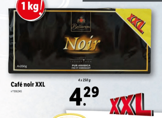 Promo sur paquet de 4 250 g Cafe noir XXL Bellarom