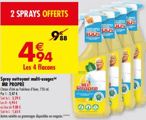 Promos de 494 € sur 4 Flacons Spray nettoyant multi usages MR Propre 1