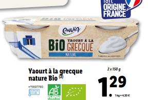 promo sur Pack de 2 Yaourt a la grecque nature Bio 1