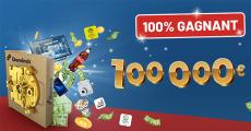 En jeu : 1 chèque de 100'000€, 36 000 codes d'achat Dominos Pizza 1 TV Sony, 1 tablette Samsung et+
