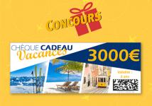 A gagner : 1 chèque voyage de 3000€ + 6 lots de 500€