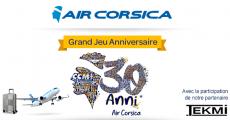 En jeu : 1 an de vols sur la compagnie Air Corsica de 5544€, 15 lots (Vol + bagages Tekmi) de 924€ et+