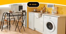 En jeu : 1 réfrigérateur-congélateur, 1 micro-ondes, 1 téléviseur, 1 bouilloire électrique et+