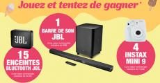 A gagner : 15 enceintes Bluetooth JBL, 4 appareils photo Insta Mini 9 et 1 barre de son JBL