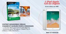 En jeu : 1 iPad Wifi 128Go de 449€ + 10 coffrets Wonderbox 0 (0)
