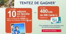 En jeu : 10 séjours en famille au club VVF (1600€) + 480 lots de 50€ versés sur votre carte U 4.3 (7)