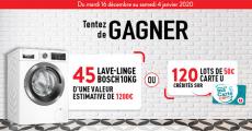 En jeu : 45 lave-linges Bosch de 1200€ + 120 cartes cadeaux U de 50€
