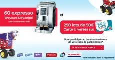 En jeu : 45 machines à café De'Longhi de 550€ + 250 lots de 50€ versés sur votre carte U