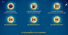 En jeu : 8 virements de 2000€, 8 lots d'un an de carburant de 1200€, 8 lots d'un an de courses et+
