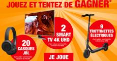 A gagner : 2 smart TV 4K de 899€, 9 trottinettes électriques et 20 casques JBL