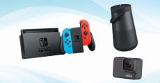 En jeu : 1 console Nintendo Switch, 1 enceinte bluetooth Bose et 1 caméra GoPro Hero 7