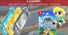 En jeu : 1 console de jeux Nintendo Switch + 1 jeu vidéo et 1 peluche