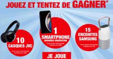 En jeu : 1 smartphone de 845€, 10 casques JVC et 15 enceintes Samsung