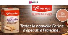 200 paquets de farine d'épeautre Francine gratuits !