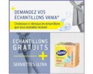 Echantillons de serviettes et de protège-slips Vania
