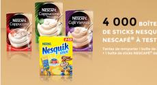 4 000 BOÎTES DE STICKS NESQUIK ET NESCAFÉ À TESTER Gratuitement ! 0 (0)