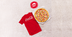 A remporter : 1 an de pizzas Pizza Hut + 20 t-shirts Coca-Cola
